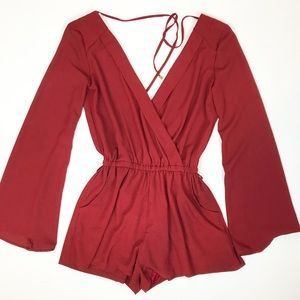 Guess burgundy long sleeve romper size XS